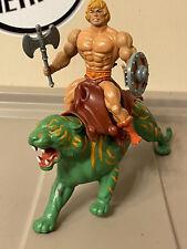 Vintage MOTU He-Man Figure W/ Battle Cat Figure & Back Armor, Ax & Shield
