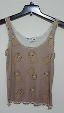 Wildfox Couture Teddy Bear  Ruffle Cami Top In Brown Size S