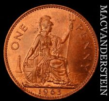 Great Britain: 1963 One Penny - Scarce  Gem Brilliant Uncirculated  #NR8374