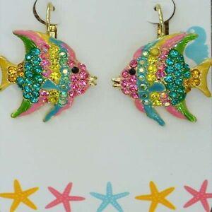 Kirks Folly Fantasy Angel Fish Leverback Earrings Goldtone Multi-Color Enameling