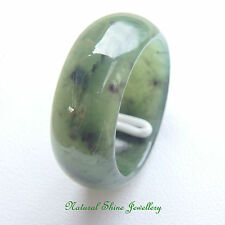 Ring 20.9 CT Natural Solid Nephrite Jade 8.8 mm Band Diamond Polished Size 8