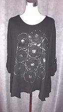 Damen weitgeschnittene Shirt schwarz weisgold Print Pailletten Risse Gr. L/XL