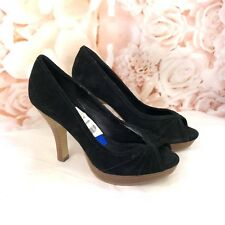4ff42eba18f Steve Madden Pawla Black Suede Leather Peep Toe Pumps Heels Women s ...