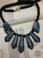 Necklace with semi precious stone blue Jasper mosaic and black onyx