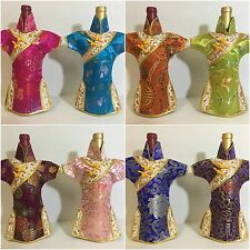 Cheongsam Wine Bottle Cover-9 colors,Oriental Chinese Dress with Gold Trimming