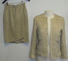 VINTAGE CHANEL ivory and brown tweed skirt suit SZ 40/6
