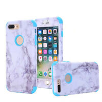 Hybrid ShockProof Hard Marble Protectiv Cover Soft Case For iPhone 5 6S 7 Plus 8