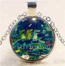 Frog Concert Photo Glass Cabochon Tibet Silver Chain Pendant Necklace