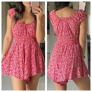 RUMOUR Red Floral Playsuit Size 8