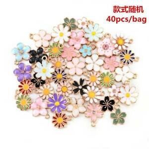 40pcs Assorted Gold Plated Enamel Flower Charms Pendant DIY for Jewelry Making.