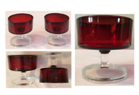Vintage Arcoroc Champagne Dessert Cups RUBY RED Clear Stem FRANCE Set of 2