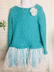 Girl's Dollie & Me Blue White Dots Lace Ruffle Long Sleeve Tunic Top Dress 7 New