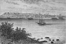 CANADA - QUEBEC vue de la POINTE LEVIS au 19eme siècle - Gravure du 19e siècle