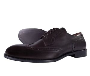 BRUNO MAGLI SHOES Wing tip brogue dark brown leather luxury Italy 40 us 7