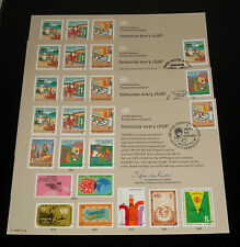 U.N.#SC32, 1987 IMMUNIZE CHILD, COMPLETE SET OF 4 SOUVENIR CARDS, NICE!! LQQK