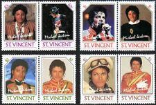 MICHAEL JACKSON Set of 8 Stamps 1985 St Vincent / Mint