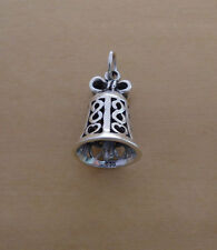 925 Sterling Silver Heavy Solid Bell Pendant with Real Bell Sound