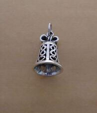 925 argento sterling solido pesante BELL CIONDOLO con vero campanello suono