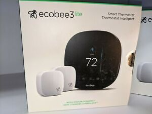 Ecobee3 Lite Smart Thermostat with 2 Room Sensors Bundle NEW Sealed in BOX