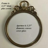 "Antique French 4.5"" Round Bronze Photo or Miniature Portrait Frame, 1800s"