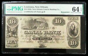1850s NEW ORLEANS, LOUISIANA $10 CANAL OBSOLETE BANK NOTE PMG CHOICE UNC 64 EPQ
