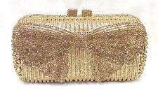 Gold Butterfly Pattern Handmade Austrian Crystal Evening Cocktail Bag