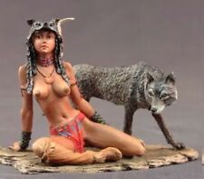 tin toy soldier 80 mm painting in St.Petersburg.Girl and Wolf