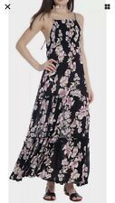 Free People Garden Party Maxi Dress Smocked Bodice Onyx Black Size M retail $128