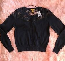 Finesse Womens Navy Blue Lace Cardigan Size M New with Tag