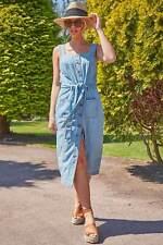 Roman Originals Women Sleeveless Button Through Denim Midi Pinafore Dress
