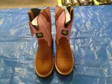 NEW DEALERS JOHN DEERE JD3185 YOUTH SIZE 6 M TAN/PINK PULL-ON BOOT