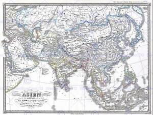 1855 PERTHES MAP ASIA AT END THE 18TH CENTURY VINTAGE POSTER ART PRINT 2920PY
