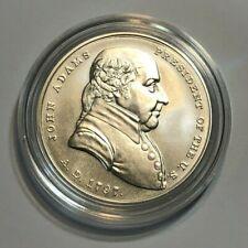 U. S. Mint 1 oz .999 Fine Silver John Adams BU Presidential Medal w Box & COA