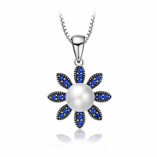 5mm Delicate Pearl & Blue Spinel Flower Pendant Necklace Solid Sterling Silver