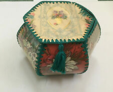 vintage handmade crochet made with  holiday greeting card box storage container