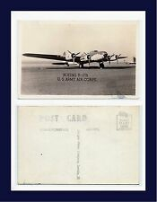 BOEING B-17B US ARMY AIR CORPS REAL PHOTO POSTCARD BY GROGAN, DANVILLE, ILLINOIS