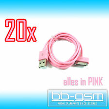 20x iPhone iPod iPad Datenkabel Ladekabel USB Kabel für iPhone 4S 4 3GS 3G Pink