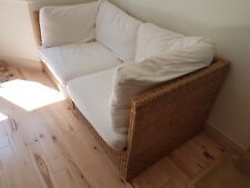habitat wicker sofa 2 seater with foot- stall/3rd seat Cream cushions 3 sections