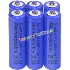 6x AA battery batteries Bulk Nickel Hydride Rechargeable NI-MH 3000mAh 1.2V Blue