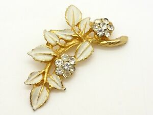 Leafy Floral Brooch Gold Plated White Leaves Clear Rhinestones Vintage 50s