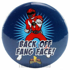 """Mighty Morphin Power Rangers Red Ranger Back Off Fang Face 1.25"""" Button Licensed"""