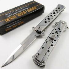 SPRING-ASSIST FOLDING POCKET KNIFE Tac-Force Silver Stiletto Blade Tactical EDC
