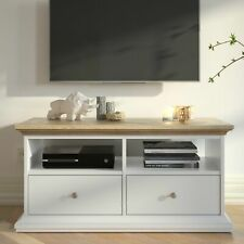 Paris TV Unit - 2 Shelves 2 Drawers in White and Oak