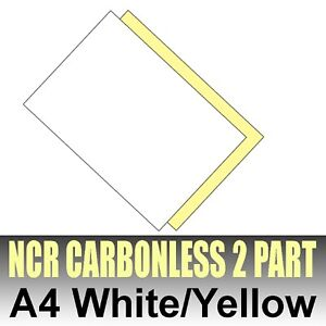 1250 sets x A4 (5 x 250) Carbonless NCR Duplicating Paper 2 Part White & Yellow