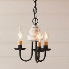 Country new Bellview vintage white 3 arm wood chandelier light / FREE SHIPPING