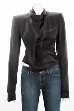 HAIDER ACKERMANN Black Asymmetrical Crop Zip Cowl Neck Sateen Moto Jacket 4/40