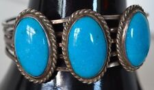 Vintage Cuff Bracelet Sterling Silver Turquoise Three Indian