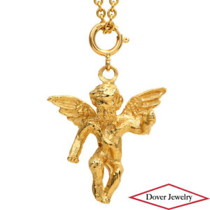 Estate 14K Gold Cherub Angel Pendant NR