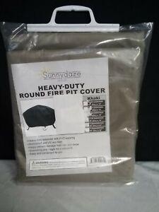 Sunnydaze Decor 58in Khaki Durable Long Lasting PVC Round Fire Pit Cover