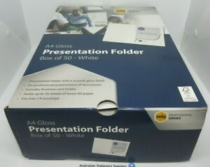 50 x Marbig A4 White Professional Series Gloss Presentation Folder in stock